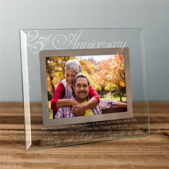 25th Anniversary Glass Picture Frame-Personalized Gifts
