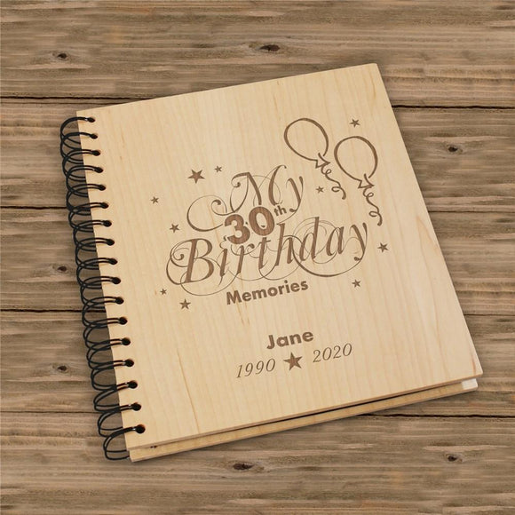 30th Birthday Wood Photo Album-Personalized Gifts