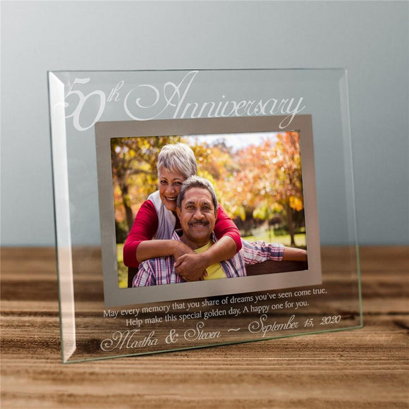 50th Anniversary Glass Picture Frame-Personalized Gifts