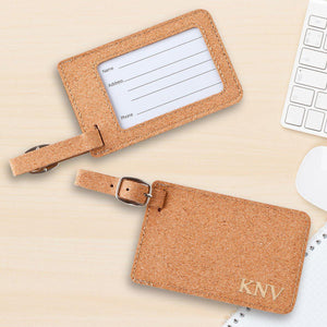 Monogram Luggage Tag - Cork - Stamped - Foil