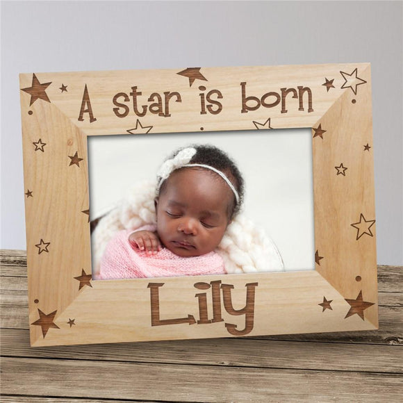 A Star is Born New Baby Personalized Wood Picture Frame-Personalized Gifts