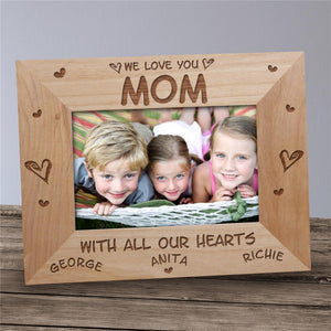 All Our Hearts Personalized Wood Picture Frame-Personalized Gifts