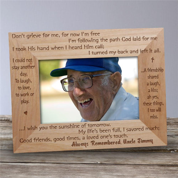 Always Remembered Memorial Wood Picture Frame-Personalized Gifts