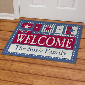 American Pride Welcome Doormat-Personalized Gifts