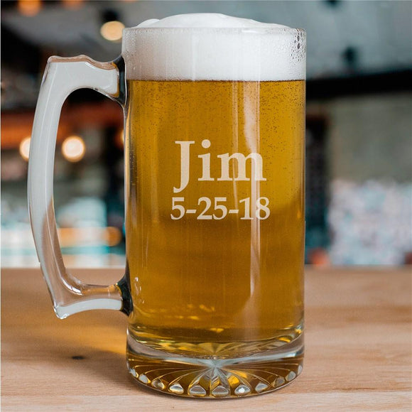 Any Name Sports Glass Mug-Personalized Gifts