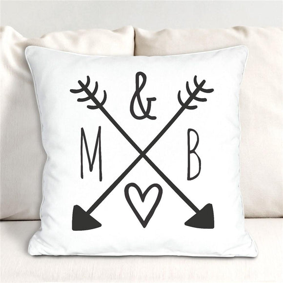 Arrows & Initials Throw Pillow-Personalized Gifts