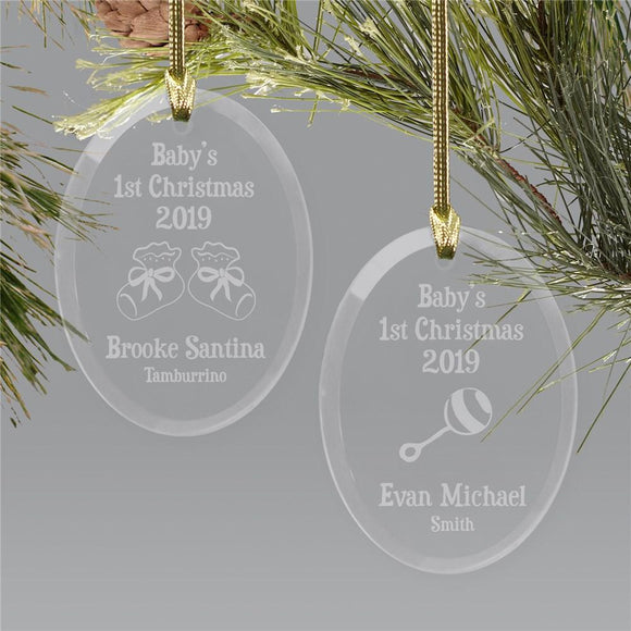Baby's First Christmas Ornament | Glass Oval Ornament-Personalized Gifts