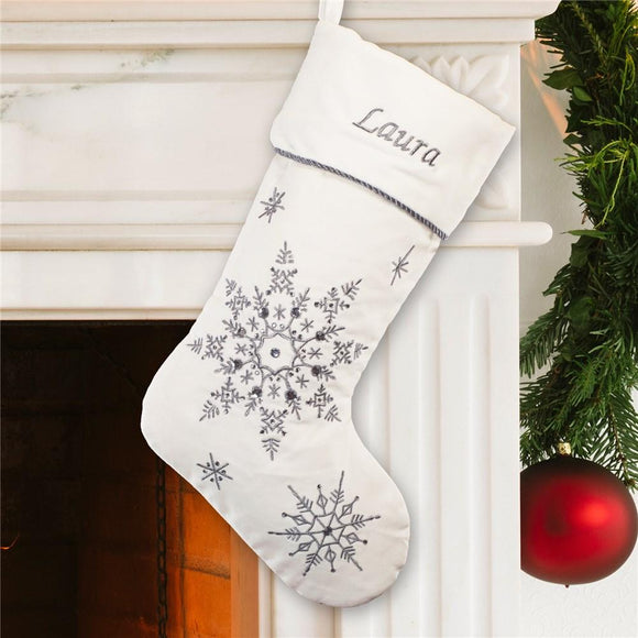 Bedazzled Silver Christmas Stocking-Personalized Gifts