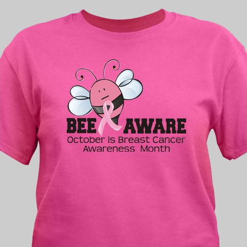 Bee Aware - Breast Cancer Awareness T-Shirt-Personalized Gifts