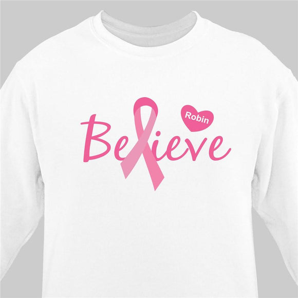 Believe - Breast Cancer Awareness Personalized Sweatshirt-Personalized Gifts