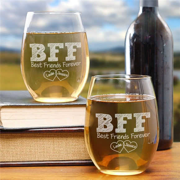 BFF Wine Glass Set-Personalized Gifts