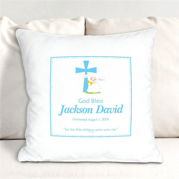 Blue God Bless Christening Personalized Throw Pillow-Personalized Gifts