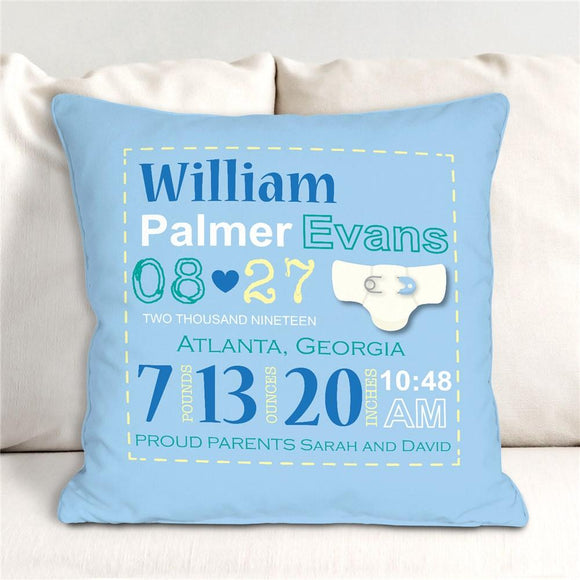 Boy Birth Announcement Throw Pillow-Personalized Gifts