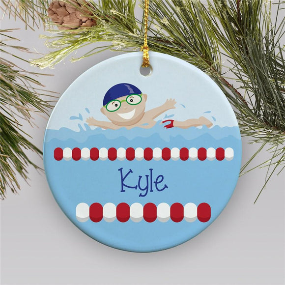 boy swimmer ornamnet-Personalized Gifts