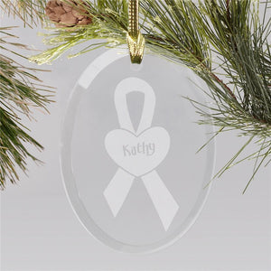 Breast Cancer Awareness Glass Christmas Ornament-Personalized Gifts