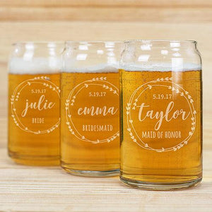 Bridal Party Beer Can Glass-Personalized Gifts