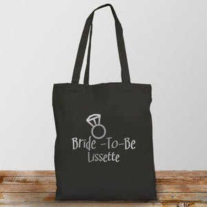Bride-To-Be Personalized Black Tote Bag-Personalized Gifts