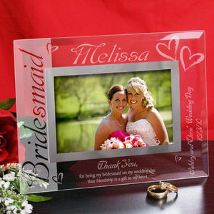 Bridesmaid Glass Picture Frame-Personalized Gifts