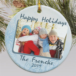 Ceramic Happy Holidays Photo Ornament-Personalized Gifts