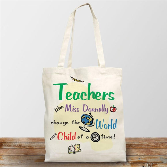 Change The World Personalized Canvas Tote Bag-Personalized Gifts