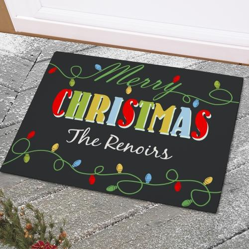 Christmas Lights Personalized Doormats-Personalized Gifts