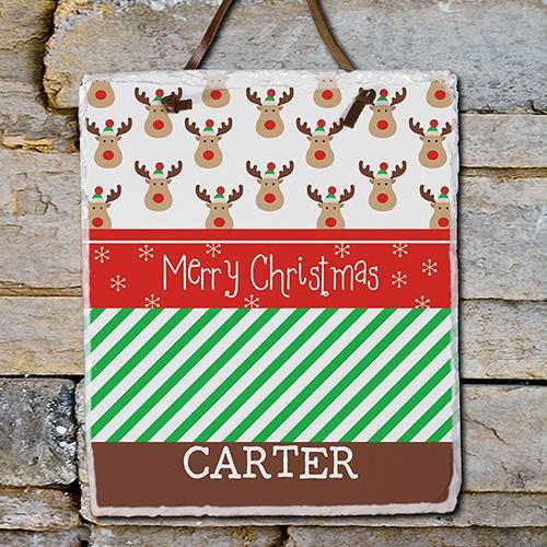 Christmas Reindeer Slate Plaque-Personalized Gifts