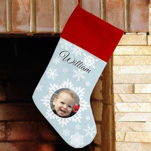 Christmas Snowflake Photo Stocking-Personalized Gifts