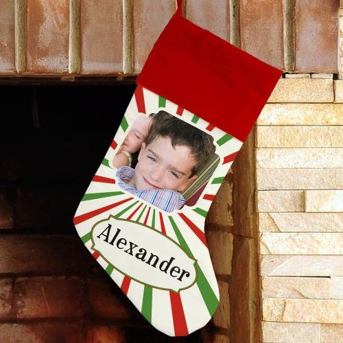 Christmas Stripes Photo Stocking-Personalized Gifts