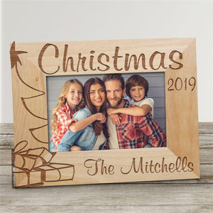 Christmas Tree Personalized Wood Picture Frame-Personalized Gifts