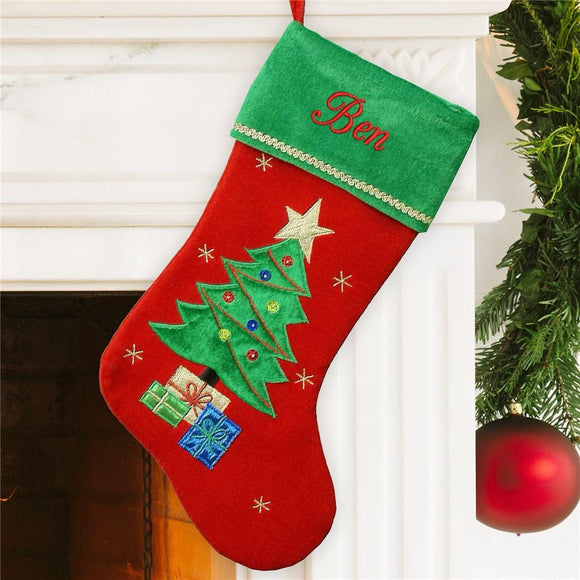 Christmas Tree Velvet Stocking-Personalized Gifts