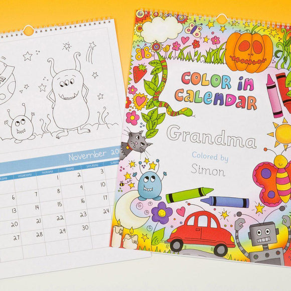 Color Me In Calendar For a Boy-Personalized Gifts