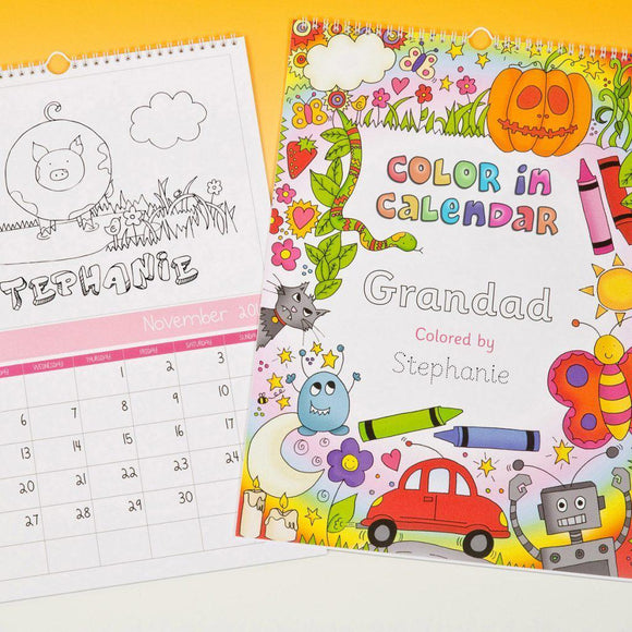 Color Me In Calendar For a Girl-Personalized Gifts