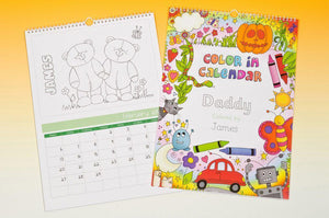 Color Me In Calendar For any Child-Personalized Gifts