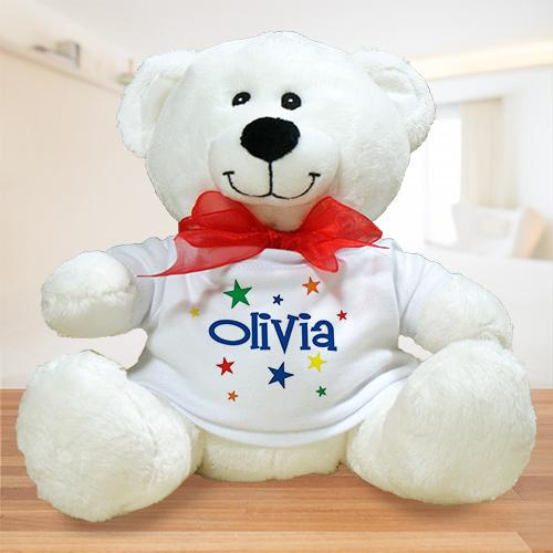 colorful stars plush teddy bear-Personalized Gifts