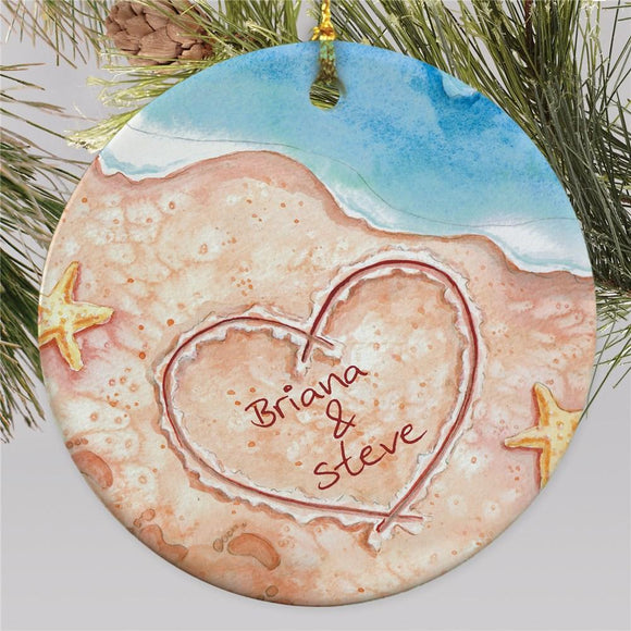 Couples Beach Christmas Ornament-Personalized Gifts