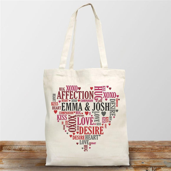 Couples Heart Tote Bag-Personalized Gifts