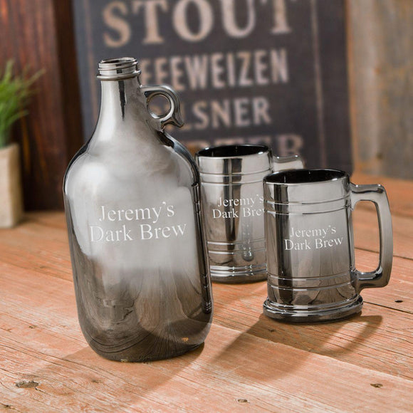 Craft Beer Personalized Gunmetal Growler and Beer Mug Set-Personalized Gifts