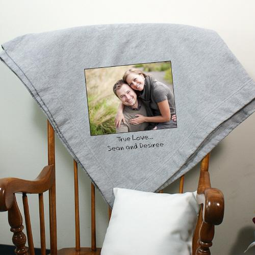 Custom Message Photo Fleece Blanket-Personalized Gifts