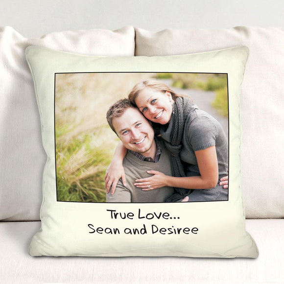 Custom Message Photo Throw Pillow-Personalized Gifts