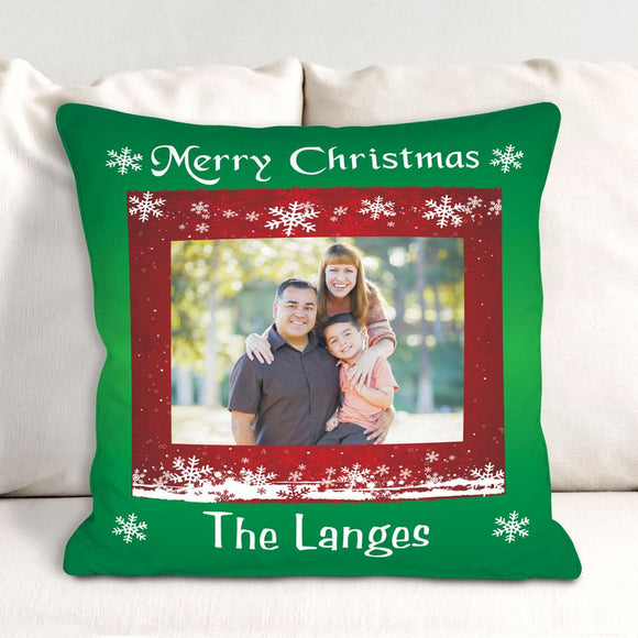 Custom Photo Christmas Throw Pillow-Personalized Gifts