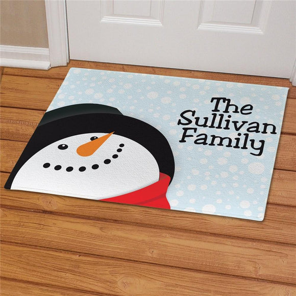 Custom Snowman Doormat with Family Name-Personalized Gifts