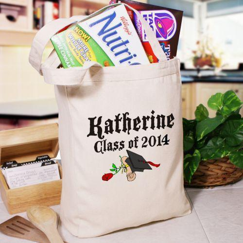 Diploma Rose Class Of Personalized Graduation Canvas Tote Bag-Personalized Gifts