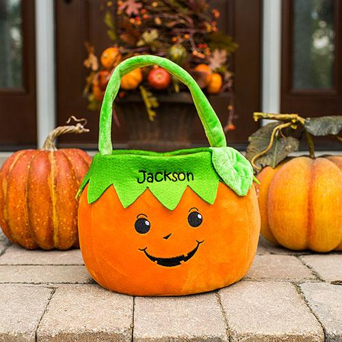 Embroidered Boy Pumpkin Trick or Treat Basket-Personalized Gifts