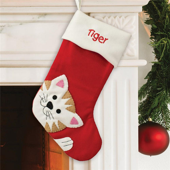 Embroidered Cat Stocking-Personalized Gifts