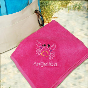 Embroidered Crab Pink Beach Towel-Personalized Gifts