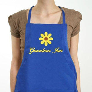 Embroidered Daisy Kitchen Apron-Personalized Gifts