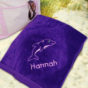 Embroidered Dolphin Beach Towel-Personalized Gifts