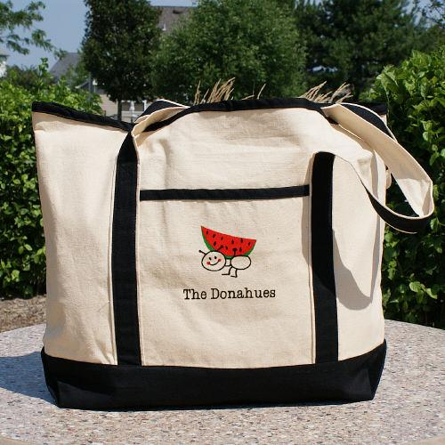 Embroidered Family Canvas Tote Bag-Personalized Gifts