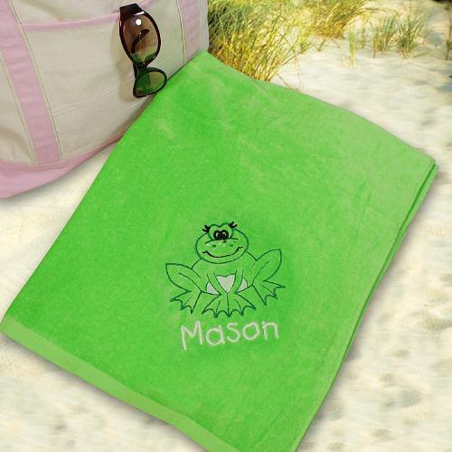 Embroidered Frog Beach Towel-Personalized Gifts