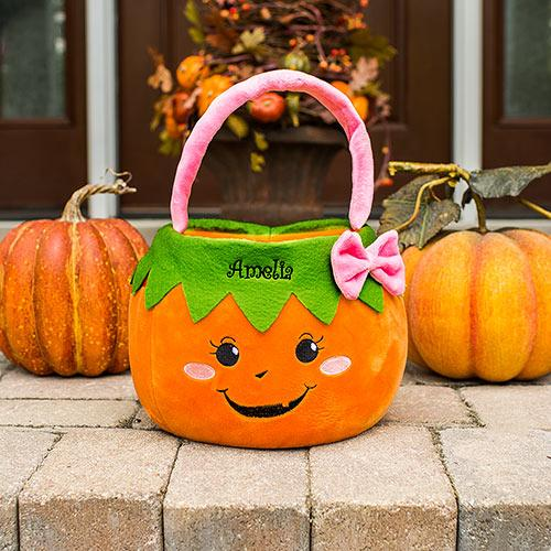 Embroidered Girl Pumpkin Trick or Treat Basket-Personalized Gifts